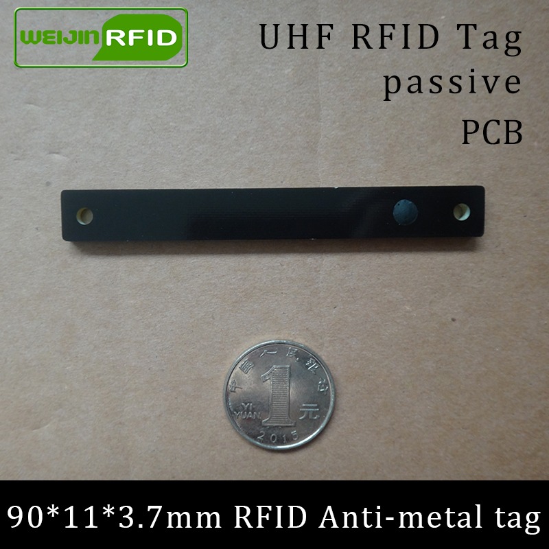 UHF RFID Anti-metal Tag 915mhz 868mhz Alien Higgs3 EPCC1G2 6C 90*11*3.7mm Storage Rack Slim PCB Smart Card Passive RFID Tags