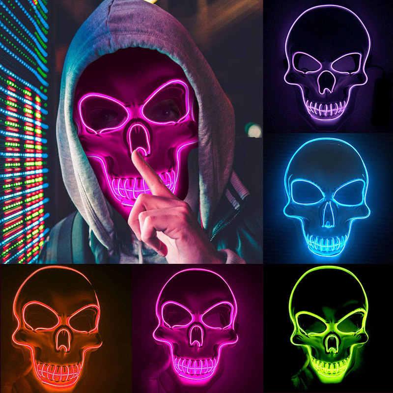 1PC Neon Masker Lampu LED Masker Pesta Pembersihan Tahun Pemilihan Besar Lucu Masker Festival Cosplay Kostum Persediaan menyala Dalam Gelap