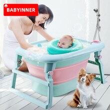 Babyinner Baby Bathtub Folding Portable Bath Barrel Infants Supplies Children Thick Baby Bath Bucket Newborns Household 0-8Y