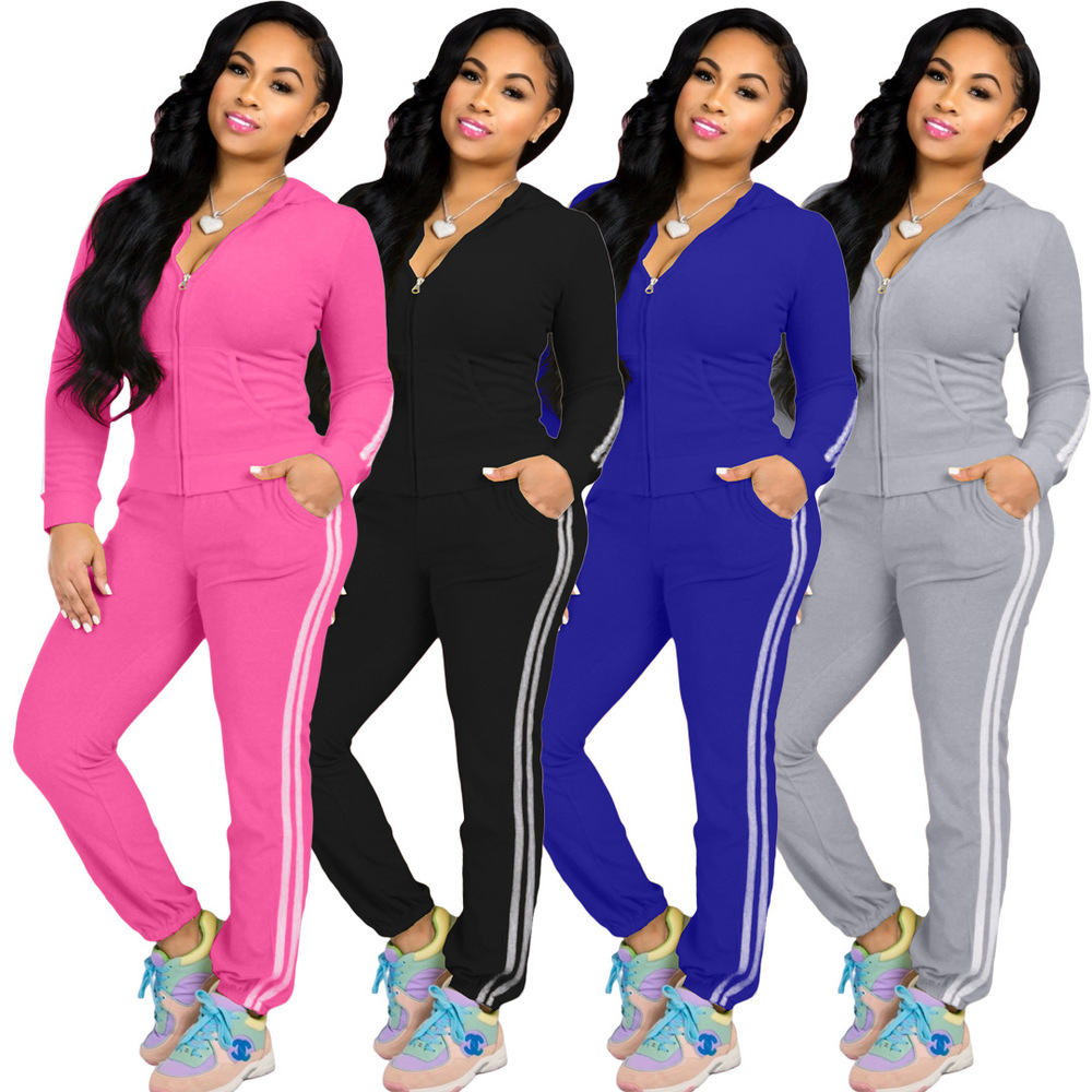 Autumn New Women Zipper Long Sleeve Hooded Tops Pockets Sport Legging Sweatpant Casual Workout Bodycon Stretchy Outfit Tracksuit image