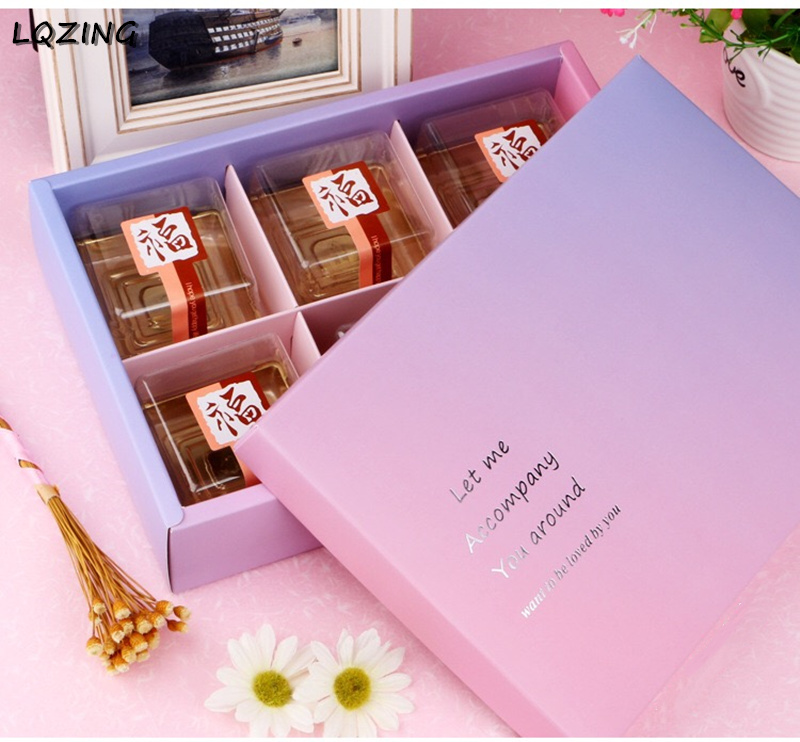 <font><b>Big</b></font> <font><b>Gift</b></font> <font><b>Box</b></font> Wedding Favors Gradient Color Paper <font><b>Gift</b></font> <font><b>Box</b></font> <font><b>Packaging</b></font> 6 cup Wedding <font><b>Gift</b></font> Candy <font><b>Box</b></font> Food Cupcake Cookie Cardboard image