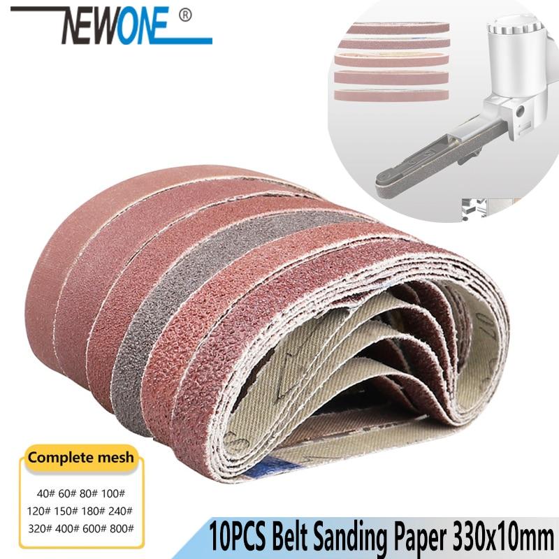 10pcs Grinding Sanding Belt Multi-Grit Sanding Paper 330x10mm Sander Belt For Angle Grinder Belt Sander Machine Abrasive Tool