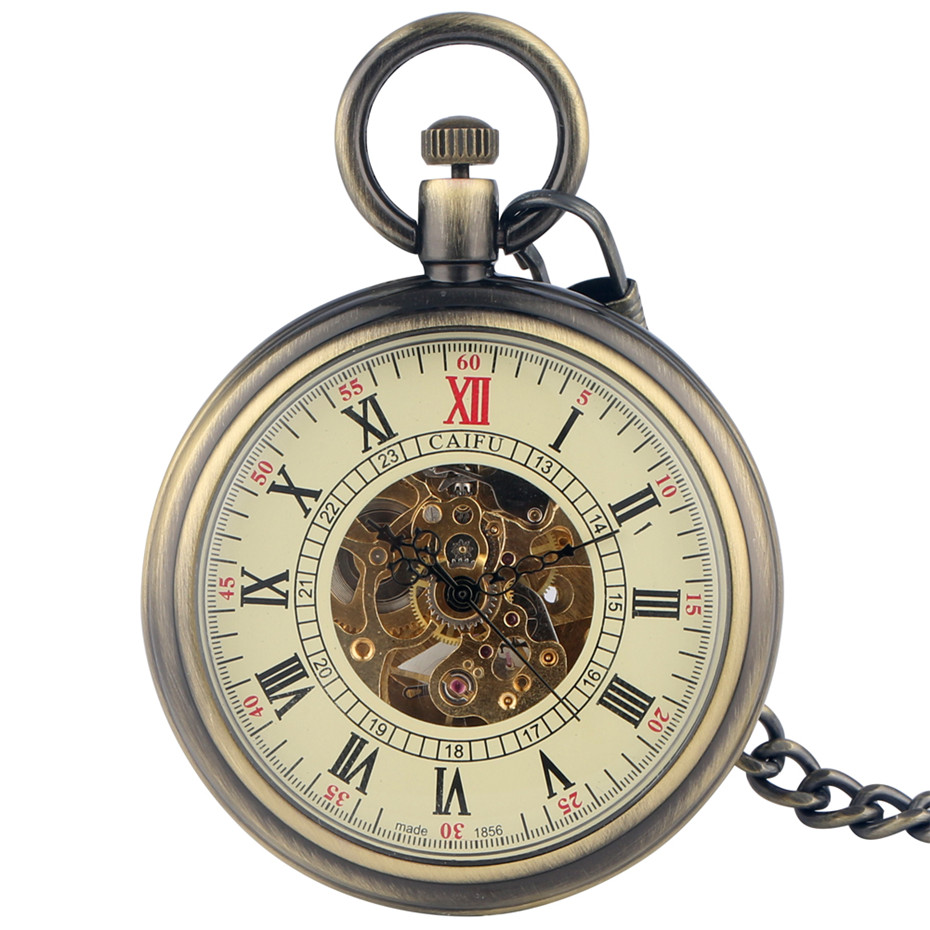 Open Face Roman Numerals Display Automatic Pocket Watch Bronze/Black Metal Case Retro Punk Pendant Self Winding Pocket Clock