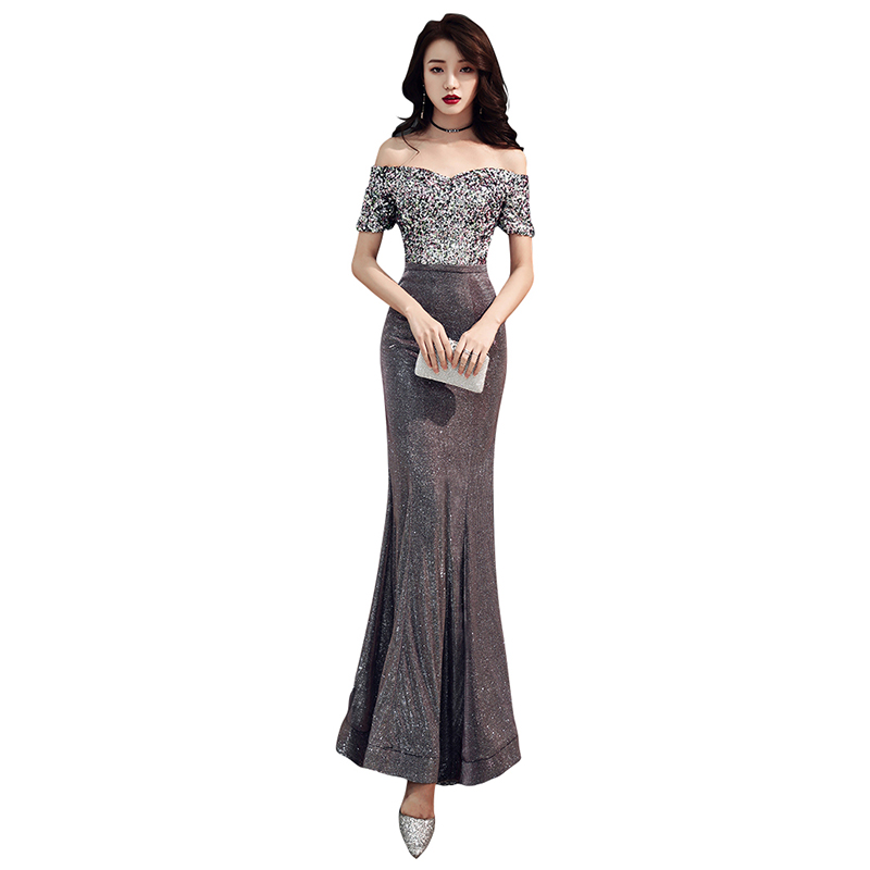 Evening Dress Off The Shoulder Robe De Soiree 2019 Short Sleeve Women Party Dresses Boat Neck Sequin Formal Evening Gowns F114