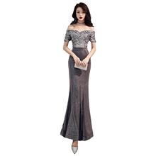 Evening Dress Off The Shoulder Robe De Soiree 2019 Short Sleeve Women Party Dresses Boat Neck Sequin Formal Evening Gowns F114 short sleeve off shoulder blouses for kids tulle polyester sequin party dresses