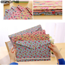 EZONE A4 File Bag Document File Holder Floral Fashion New Creative Design Cotton and Linen Material School and Office Supplies