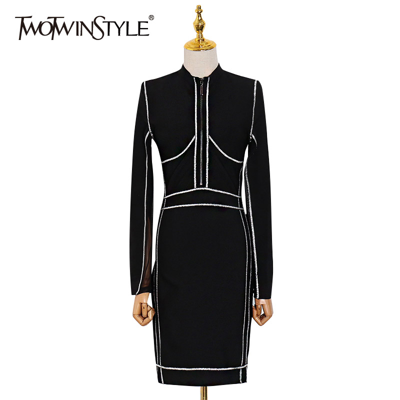 TWOTWINSTYLE Sexy Letter Slim Hit Color Women's Dresses V Neck Long Sleeve High Waist Mini Dress For Female 2020 Fashion Clothes