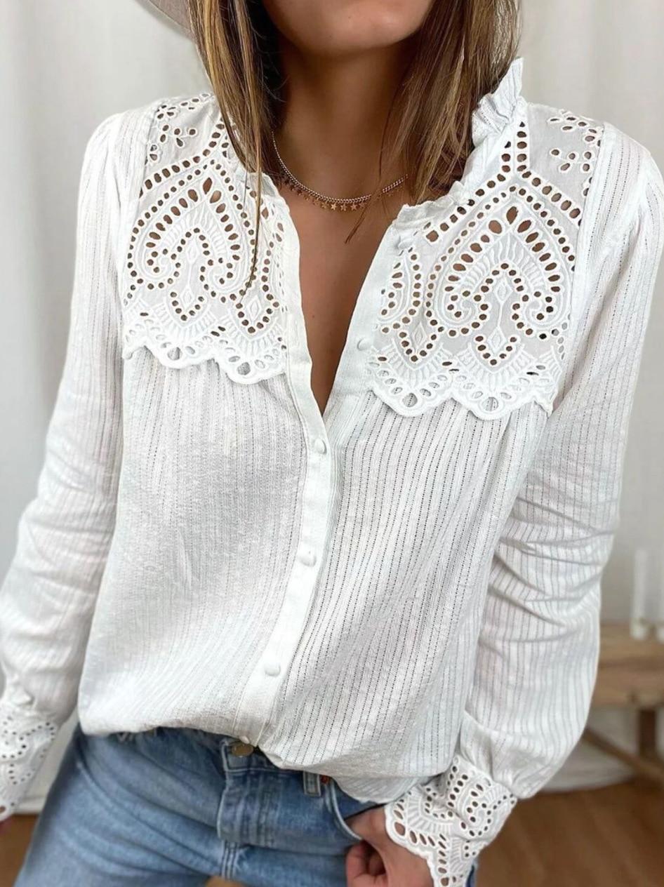 Блузка женская кружевная с круглым вырезом и длинным рукавом, свободного покроя 1