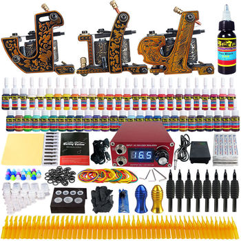 цена на New Complete Tattoo Machine Kit 3 Guns 54 Inks Power Supply Needle Grips Tips Tattoo Gun Immortal Tattoo Ink Set Power Box Grip