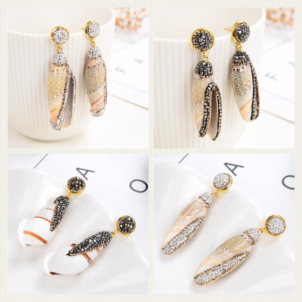 2021 New Hot Sea Shell Earrings For Women Natural 6 Style Conch Bohemian Drop Earrings Handmade Beach Ladies Fashion Jewelry