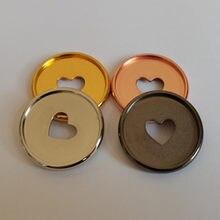 100 pces 35mm em forma de coração galvanizado notebook plástico disco encadernação bandeja plástico 360 graus rotatable disco fivela