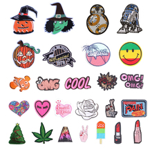 Halloween Iron On Embroidery Patches Cute DIY Creative Badges Hot Transfer Stickers Sew On Clothes Denim Sequin Appliques F
