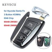 Keyecu inteligentny pilot z kluczykiem samochodowym 3 przyciski 433MHz ID46 układu dla Hyundai Santa Fe 2012-2015 FCC ID: 95440 2W500 / 2W600