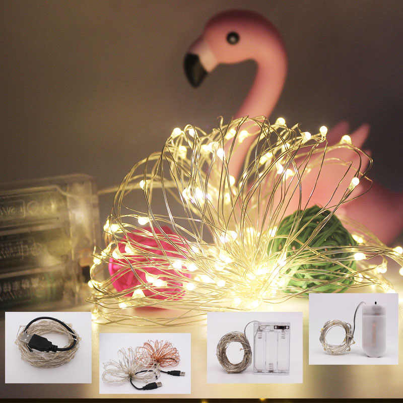 LED String światła usb 10M 5M 2M srebrny drut wróżka światło boże narodzenie ślub strona dekoracji zasilany przez akumulator USB taśmy led lampa