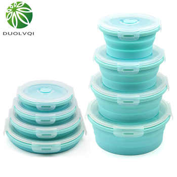 Duolvqi 3/4PCS Set Collapsible Fruit Salad Lunch Box Silicone Food Box Container Round shape Tableware BPA Free - DISCOUNT ITEM  39% OFF All Category