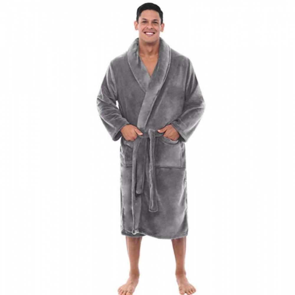 Mens Fashion Velvet Bathrobes Flannel Robe Sleepwear V-Neck Long Sleeve Bandage Plush Robe Shawl Kimono Warm Bathrobe Nightdress