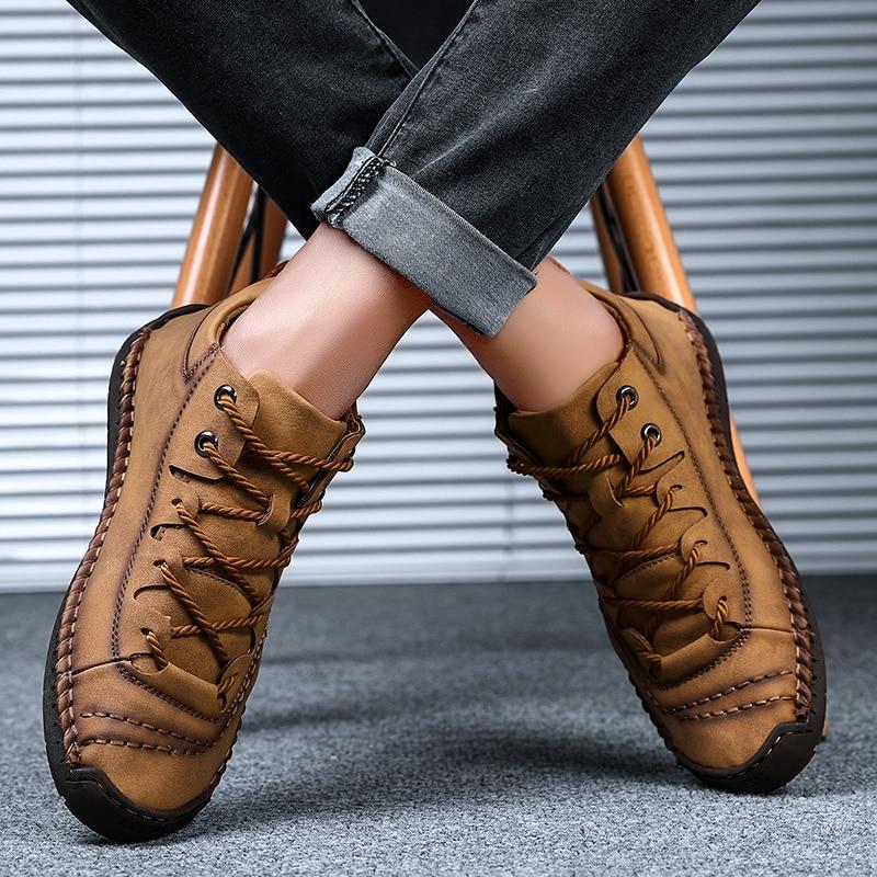 ZUNYU Homens Sapatos Casuais Estilo Britânico Sapatos de Couro Confortáveis Homens Moda Homem Andando Sapatos Tamanho Grande Marrom Preto Macio Calçado Plana 5