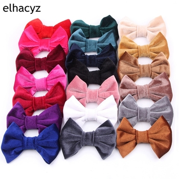 1PC Retail New 4 Soft Velvet Hair Bow For Girls Solid Mini for Headband Clips Kids DIY Party Accessorie Hairband