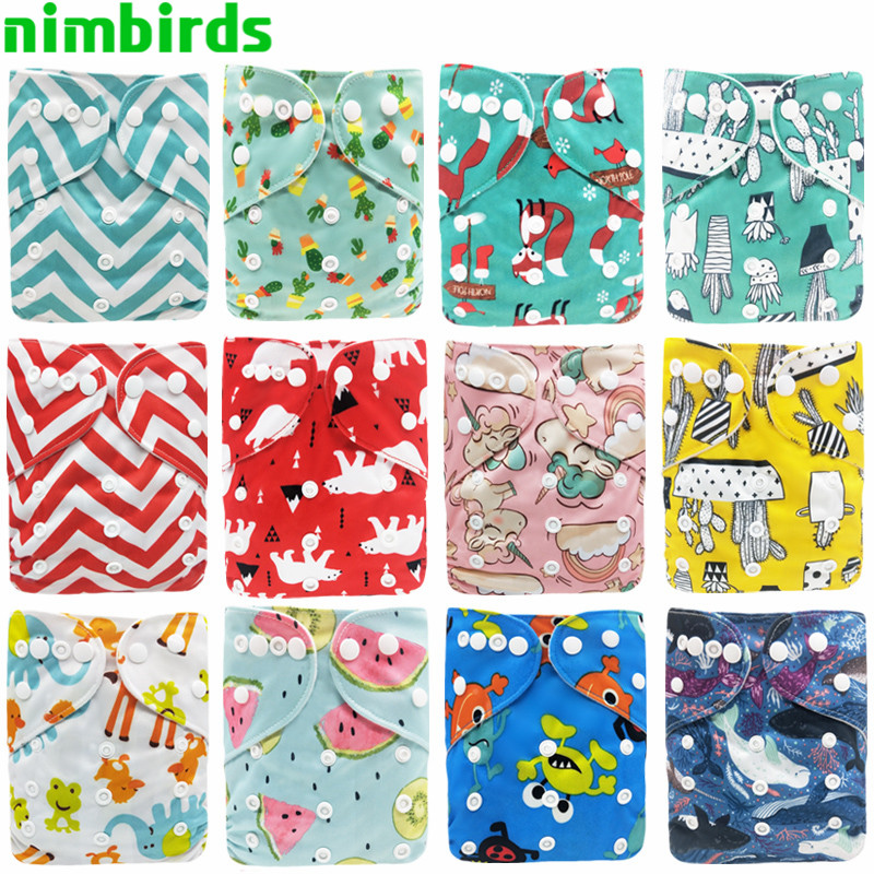 10 PCS Baby Reusable Cloth Diaper Washable Pocket Nappy Waterproof Printed Diapers One Size Cover Wrap For 3-15kg Wholesale