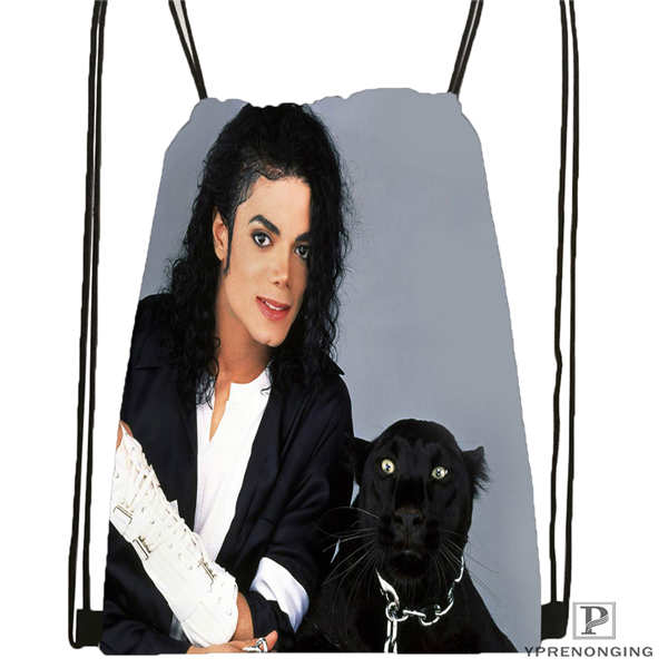 Custom Michael-jackson@01  Drawstring Backpack Bag Cute Daypack Kids Satchel (Black Back) 31x40cm#180611-03-111