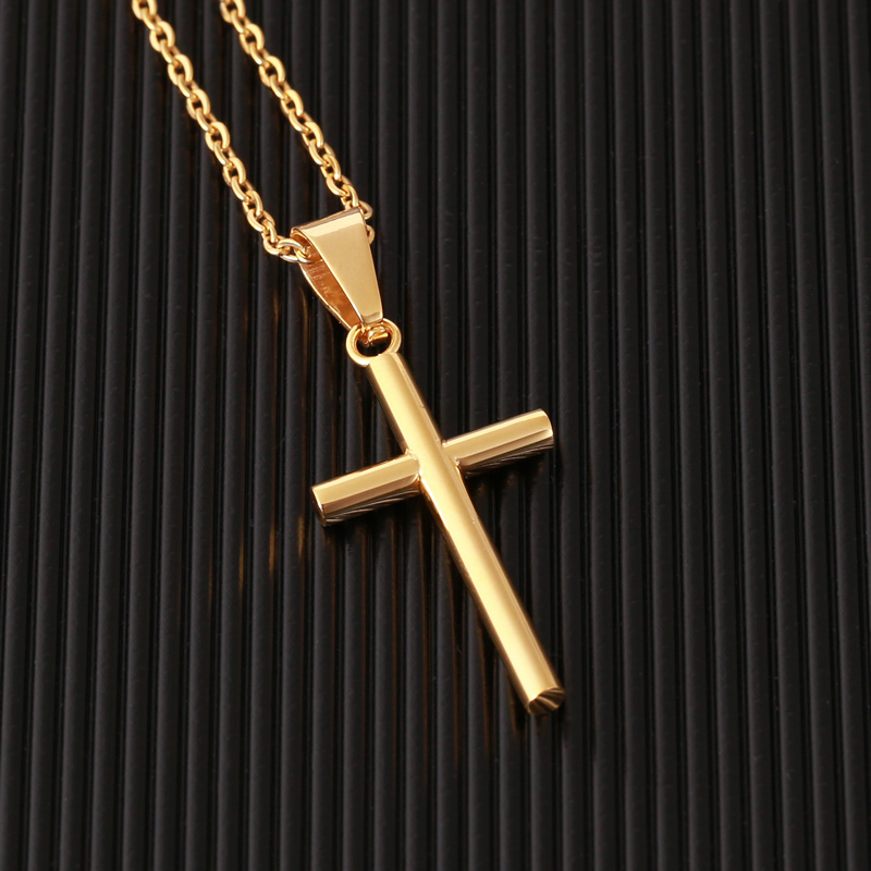 Hd20c636f77e54a05a173de07720459fcq - New Stainless Steel Cross Necklace Men Pendant For Women Gold Color Crystal Link Chain Prayer Necklace Christian Jewelry Gift