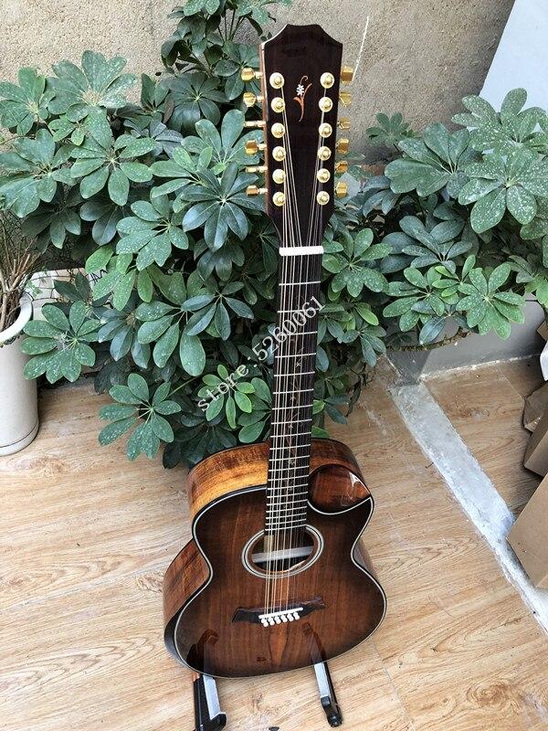 Haute qualité KOA wood k24, guitare acoustique cutaway 12 cordes, guitare électrique avec accoudoir, livraison gratuite, guitarras