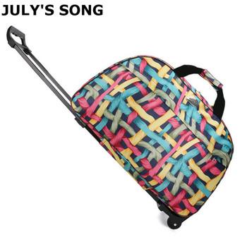 Lipiec SONG walizka podróżna na kółkach walizka na kółkach przenośne torby na kółkach torba na kółkach na zewnątrz weekendowa podróż bagaż na samolot tanie i dobre opinie JULY S SONG CN (pochodzenie) Oxford Versatile 23cm torby podróżne 52cm zipper Torba podróżna 1 25kg ABB0252 moda Oxford cloth