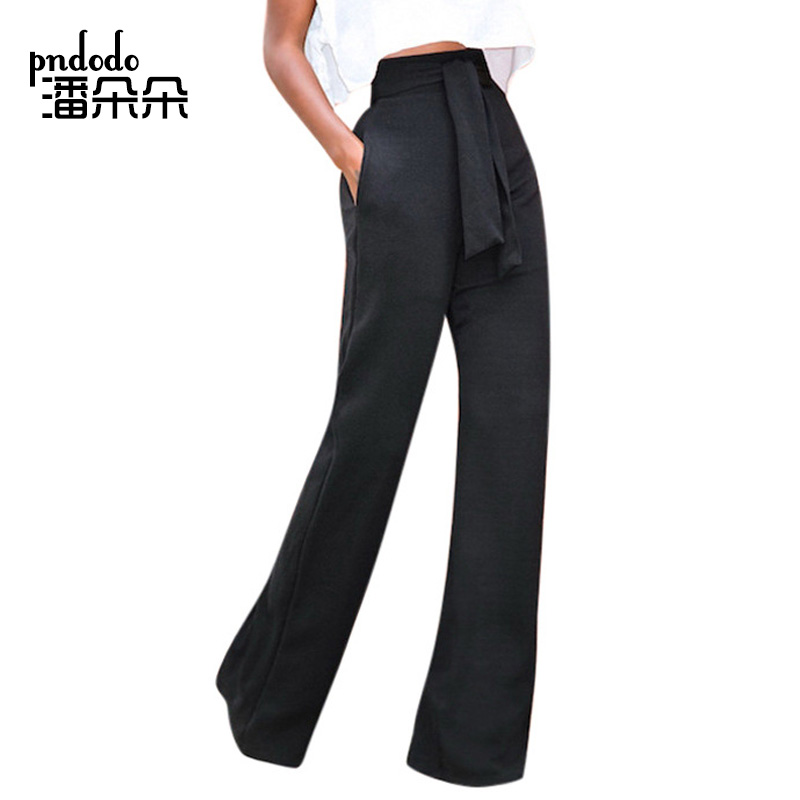 Pndodo 2018 New Sexy Stretch High Waist Flare Pants Women Elastic Loose Wide Leg Pants Female Solid Casual Trousers With Pocket