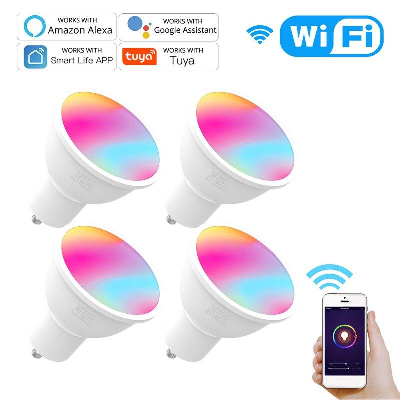 Умная Светодиодная лампа 4,5 Вт GU10 с поддержкой Wi-Fi и голосовым управлением