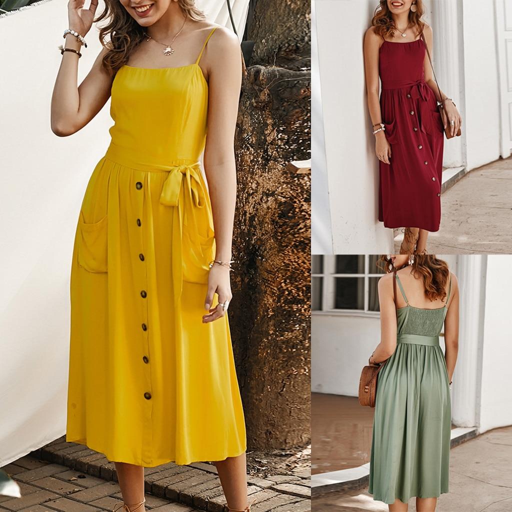 2020 vestidos women dress Bohe Bandage Camisole Backless Button Casual Sundress sexy dress ropa mujer sukienki  robe hiver femme