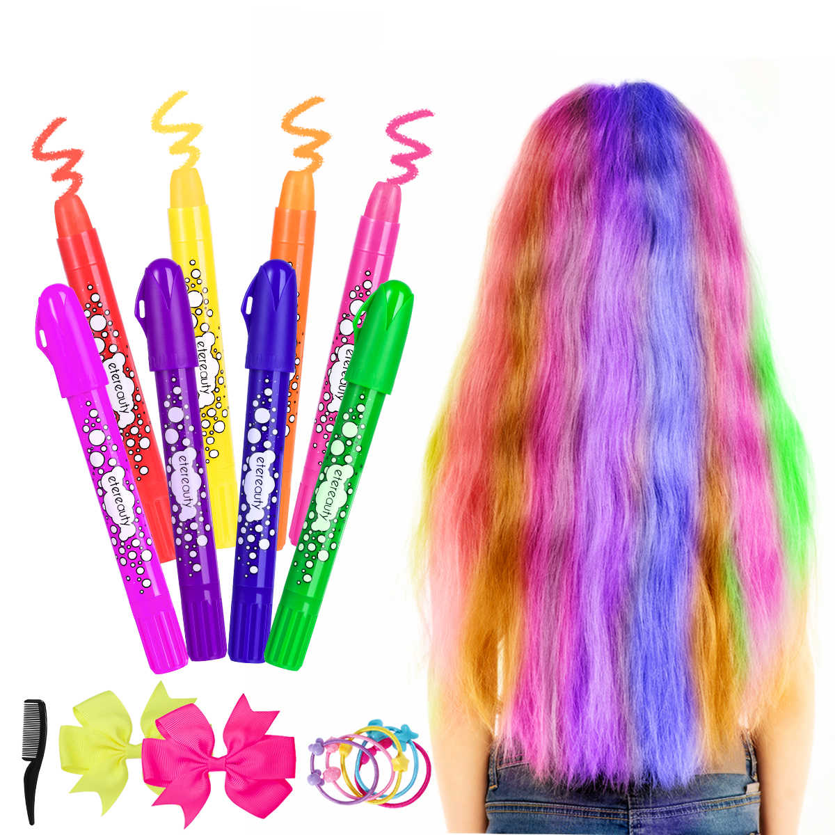 Hair Chalk Set 8 Colors Non Toxic Washable Temporary Hair Dye Rainbow Hair Color For Kids And Teens With Bow Hair Tie And Comb Aliexpress