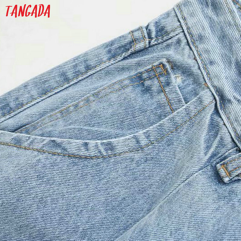 Tangada fashion women loose mom jeans long trousers pockets zipper loose streetwear female blue denim pants 4M38 33