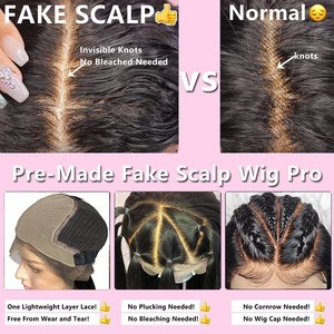 Image 5 - 13x6 lace front Brazilian Body Wave Fake Scalp Wig Lace Front Human Hair Wigs For Black Women pre plucked bleached knots 180%