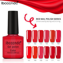 1X Verniz Gel Cores Puras Série Red UV Gel Polish Manicure DIY Nail Art Design Polonês Gel Laca Verniz Shilak top Coat de Base(China)