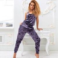 HiLoc-Conjunto de Pijama de terciopelo Morado para mujer, traje para casa sin mangas, camiseta sin mangas y pantalones de salón, conjunto cálido para mujer