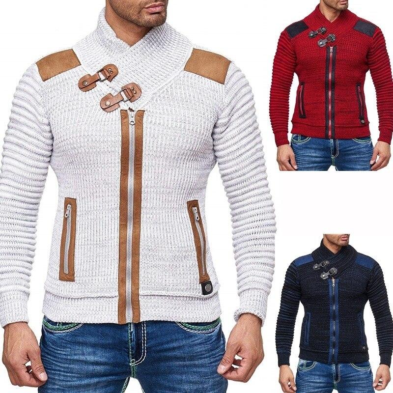 ZOGAA 2019 Autumn Winter Brand Sweater Cardigan Men Casual Slim Sweaters Male Warm Thick Hedging Turtleneck Sweater Men S-3XL