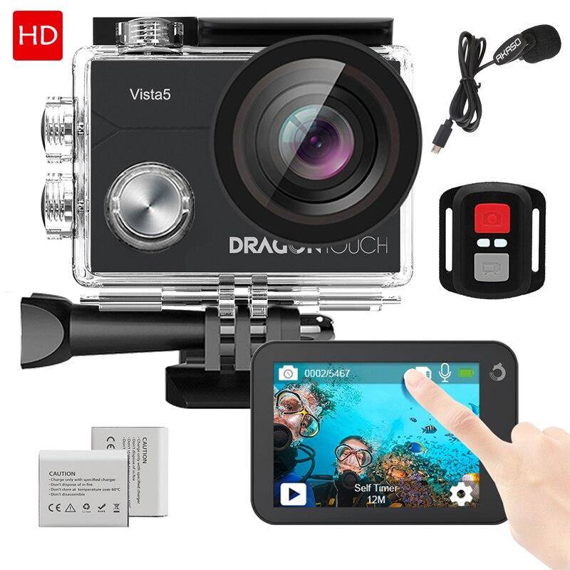 Dragon Touch Vista 5 4K 16MP caméra d'action 170 ° grand Angle WiFi EIS écran tactile étanche casque Sport caméra avec micro supplémentaire