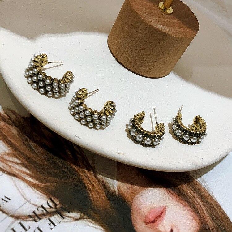 C-shaped retro Pearl Earrings  Baroque women korean pearl african luxury jewelry bohemian earrings