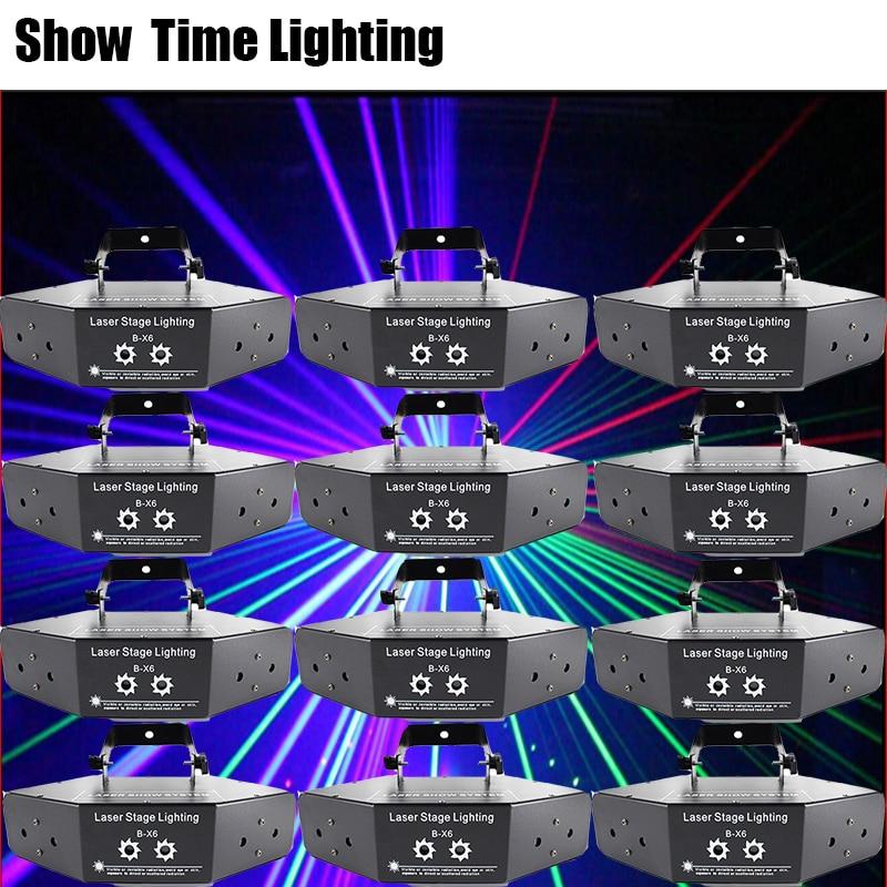 12Pcs/lot RGB Dj Laser Image Lines Beam Scans DMX DJ Dance Bar Coffee Xmas Home Party Disco Effect Lighting Light System Show