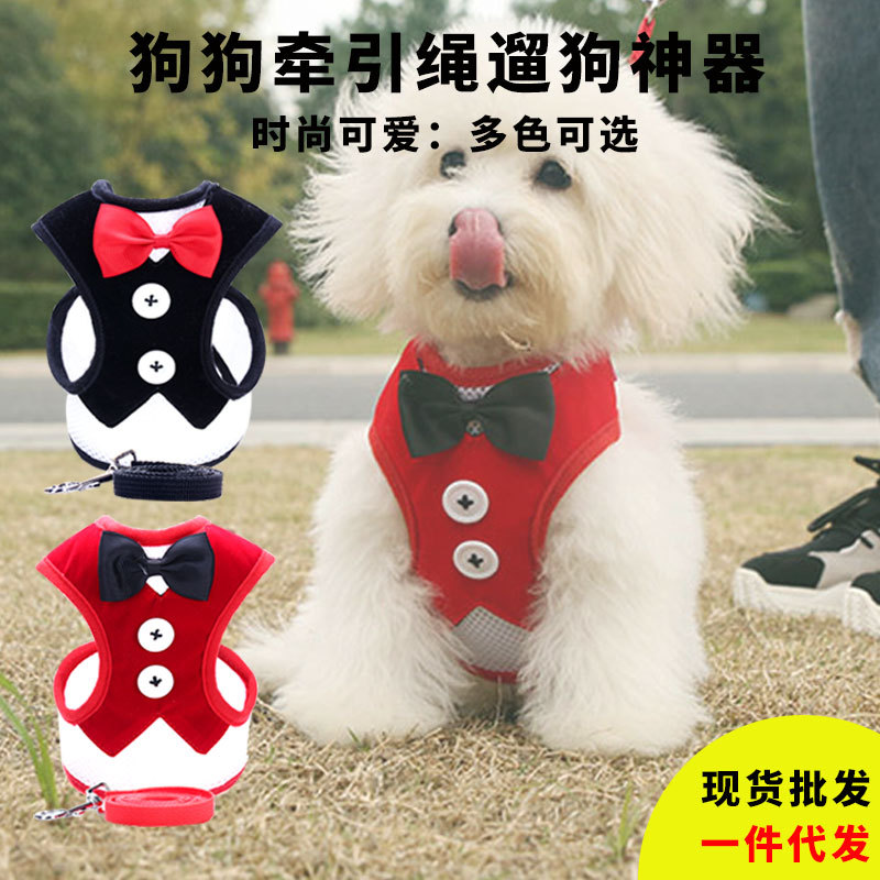 Dog Hand Holding Rope Bow Mesh Chest And Back Vest Style Small Dogs Pet Supplies