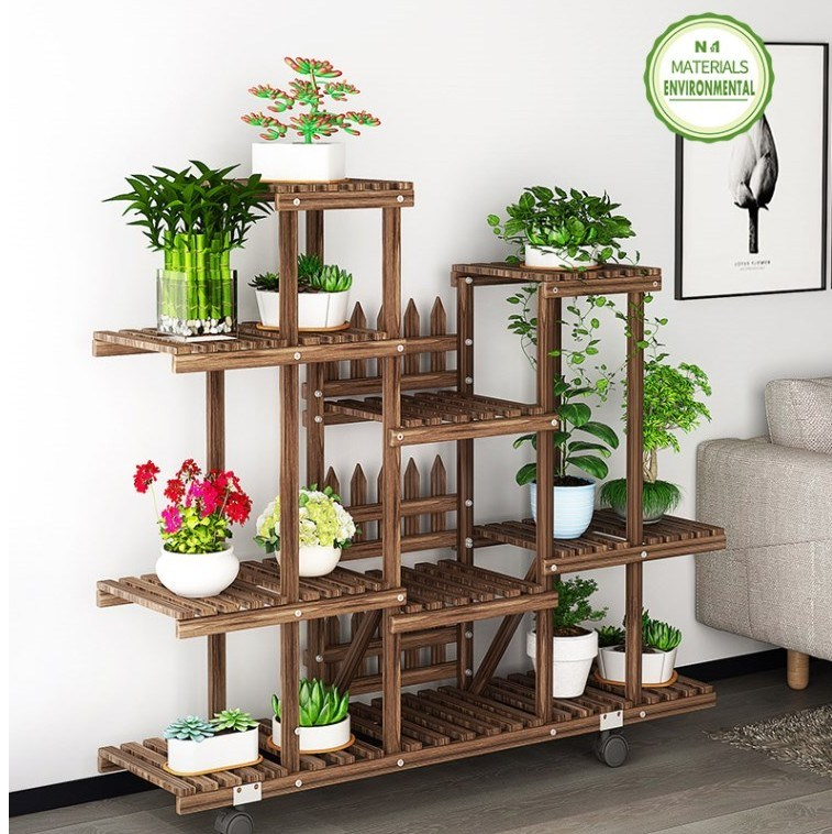 Flower Rack Plant Stand Multi Wood Shelves Bonsai Display Shelf Indoor Outdoor Indoor Yard Garden Patio Balcony Flower Stands