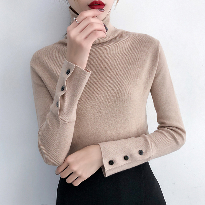 2019 Cashmere Knitted Women Sweater Pullovers Turtleneck Autumn Winter Basic Long Sleeve Button Sweaters Korean Style Black Tops