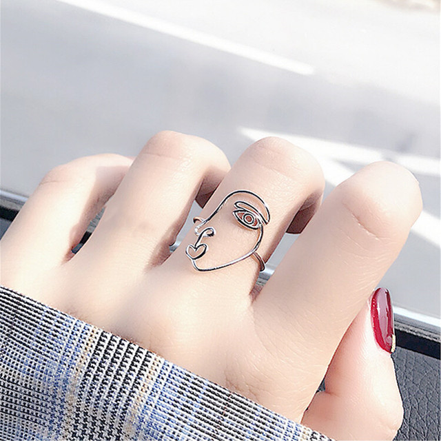 DreamySky Real Silver Color  Human Face Mask Rings For Women Big Antique Rings Finger Jewelry High Quality 5