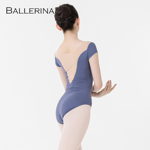 Image 4 - バレエ練習レオタード女性のためのaerialistダンス衣装半袖体操レオタードadultoバレリーナ5729