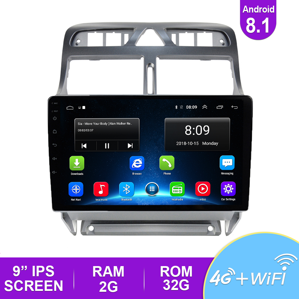 <font><b>2din</b></font> Android 8.1 Car DVD Multimedia Player <font><b>For</b></font> <font><b>Peugeot</b></font> <font><b>307</b></font> 307CC 307SW 2002-2013 Car <font><b>Radio</b></font> GPS Navigation WiFi Bluetooth Player image