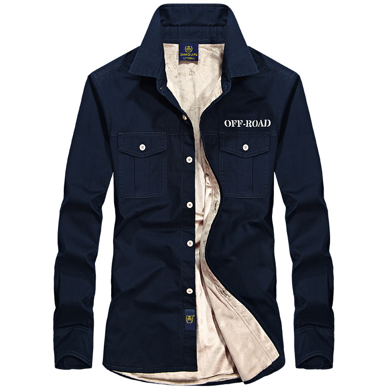 Brand Winter Casual Solid Shirt Men Pure Cotton Fleece Thick Warm Long Sleeve Shirts Chemise Homme Military Dress Men Shirts