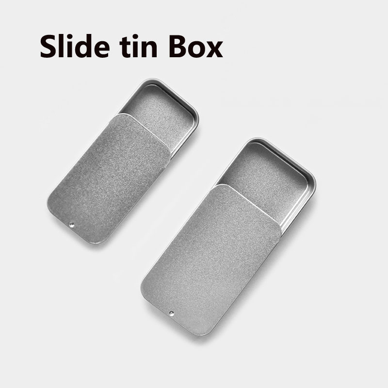 20pcs Empty Mint Sliding Tin Box Metal Packaging Slide Die Lid Tins Container Metal Storage Survival Kit Lip Drawer Gift Boxes