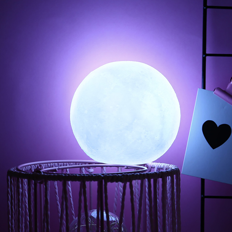 Silicone White Moon Light 3D Print Night Light Rechargeable Children's Room Bedroom Bookcase LED Moon Night Light Creative Gifts