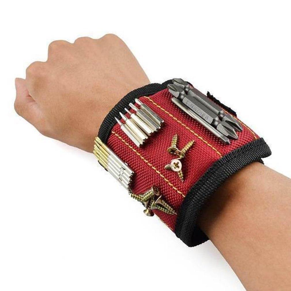 Магнитный браслет из полиэстера, 3 магнита, Портативная сумка электрика, сумка для инструментов на запястье, винты, держатель для гвоздей, Ремонтный инструмент, ремень Сумки для инструментов      АлиЭкспресс