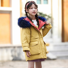 HSSCZL girls duck down jackets 2019 new winter thicken girl down coat outerwear overcoat child kids hooded natural fur fashion(China)